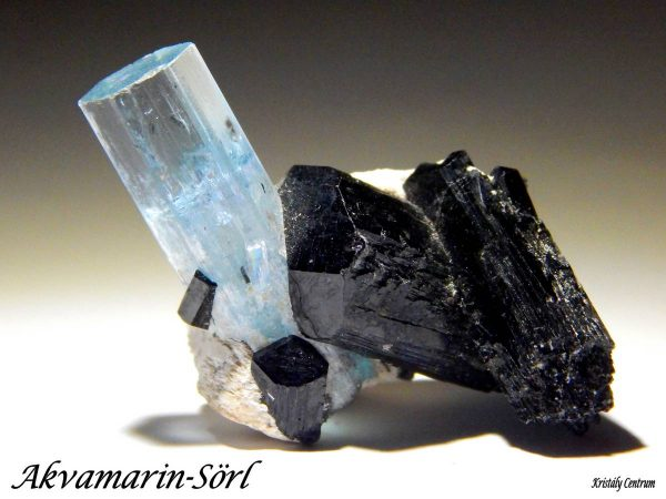 Aquamarine, black tourmaline - Erongo, Namibia